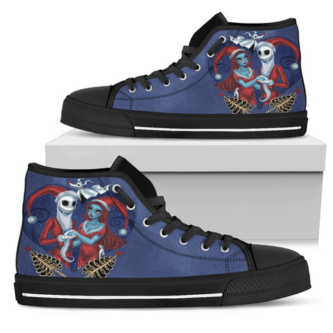 Jack Skellington & Sally Holiday Women's High Top Canvas Sneakers in Blue