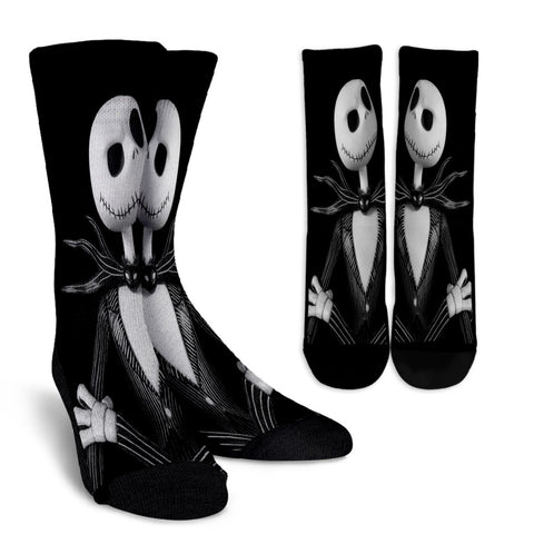 Jack Skellington in a Classic Tuxedo Casual Crew Socks in Black