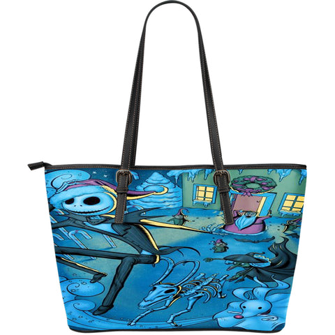 Jack Skellington's in Christmas Town Women's Leather Tote Bag in Blue