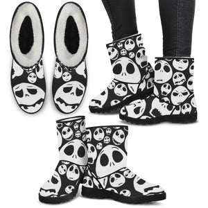 Jack Skellington Emoji Women's Suede Faux Fur Boots in Black & White