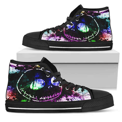 Nightmare Before Christmas Shoes - Jack Skellington Rainbow Watercolor Women's High Top Canvas Sneakers in Black