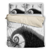 Queen Bed, King Bed, and Twin Bed - Nightmare Before Christmas Bedding Sets - Jack Skellington & Sally's In Love Kiss 3-Piece Bedding Set in Black & White