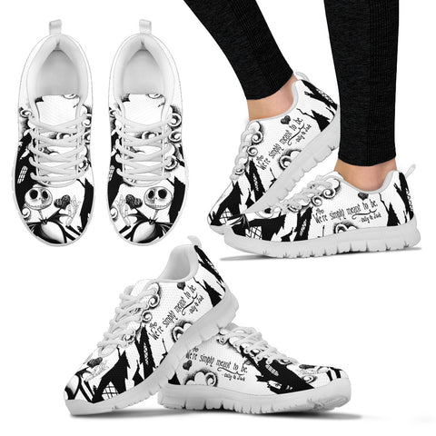 Nightmare Before Christmas Running Shoes - Jack Skellington & Sally Meant to Be Women's Lace Up Sneakers in Black & White
