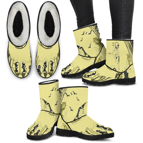 Jack Skellington Watches Over Halloween Town Women's Suede Faux Fur Boots in Yellow