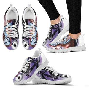 Jack Skellington & Sally Women's Lace Up Sneakers in Black & Purple