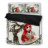 Jack Skellington & Sally Spooky Spider Web 3-Piece Bedding Set in White