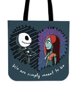 Jack Skellington & Sally Meant To Be Women's Canvas Tote Bag in Navy Blue