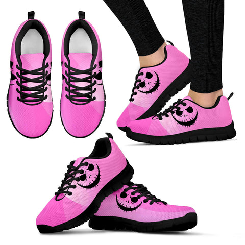 Nightmare Before Christmas Running Shoes - Jack Skellington Fierce Face  Women's Lace Up Sneakers in Pink