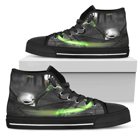 Nightmare Before Christmas Shoes - Jack Skellington Green Whip Women's High Top Canvas Sneakers in Dark Gray