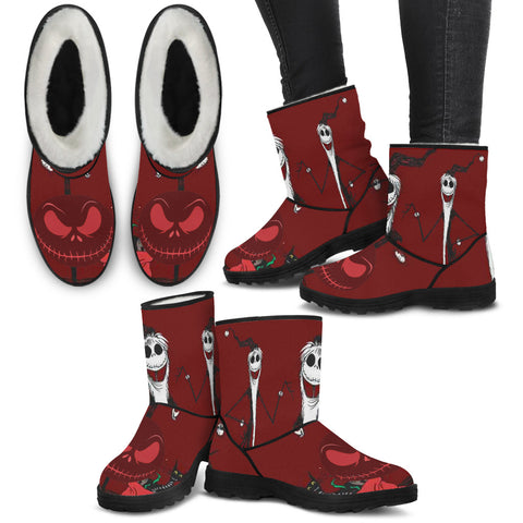 Jack Skellington Spooky Christmas Women's Suede Faux Fur Boots in Red