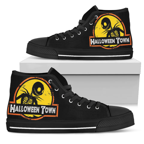 Jack Skellington Halloween Town Women's High Top Canvas Sneakers in Black