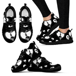 Jack Skellington & Sally Moon Women's Lace Up Sneakers in Black