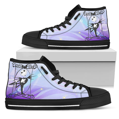 Nightmare Before Christmas Shoes - Jack Skellington's Sky's the Limit Women's High Top Canvas Sneakers in Blue