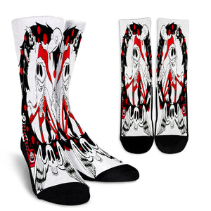 Jack Skellington Christmas Edition Casual Crew Socks in White & Red