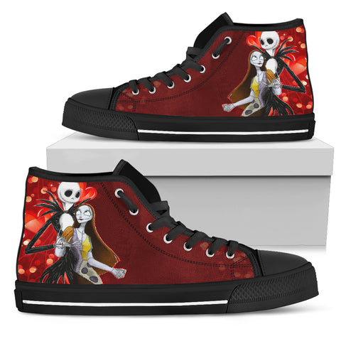 Nightmare Before Christmas Shoes - Jack Skellington & Sally Sweet Embrace Women's High Top Canvas Sneakers in Red