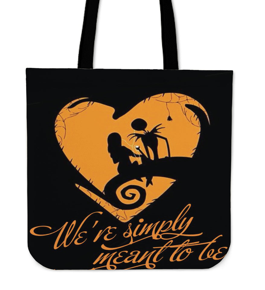 Jack Skellington & Sally Meant To Be Women's Canvas Tote Bag in Black