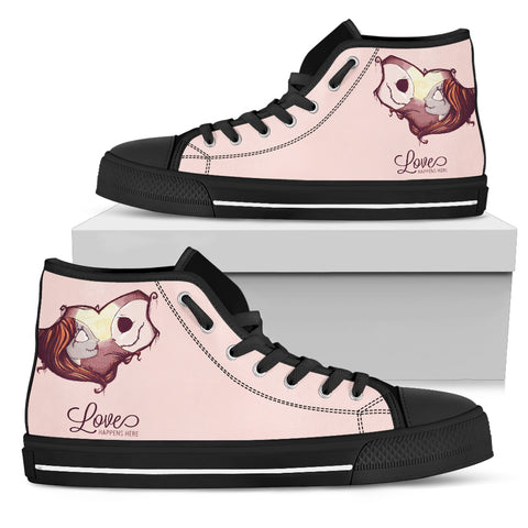 Jack Skellington Love Happens Women's High Top Canvas Sneakers in Pink