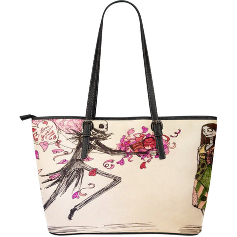 Jack Skellington Gives Flowers for Sally Women's Leather Tote Bag in Pink