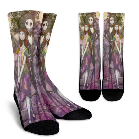Jack Skellington & Sally Pattern Casual Crew Socks in Purple