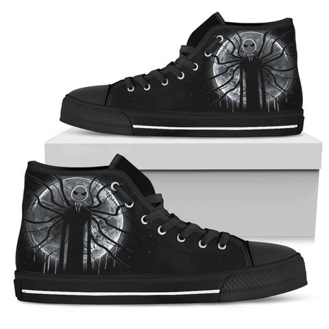 Jack Skellington's Spooky Night Women's High Top Canvas Sneakers in Black