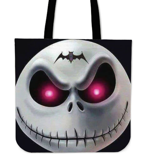 Jack Skellington Evil Eyes Women's Canvas Tote Bag in Black