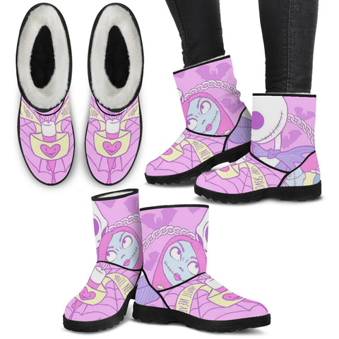 Jack Skellington & Sally Cotton Candy Women's Suede Faux Fur Boots in Pink