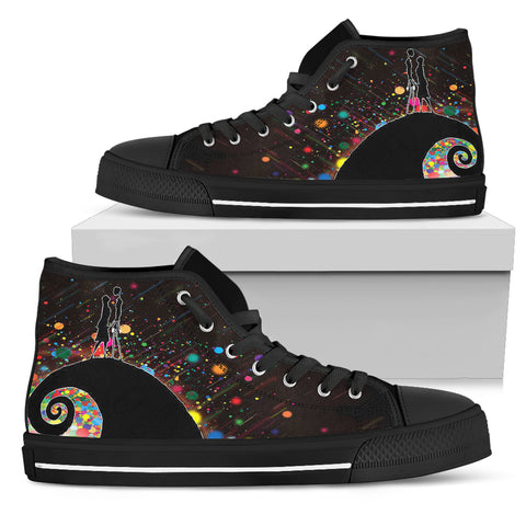 Nightmare Before Christmas Shoes - Jack Skellington & Sally Colorful Women's High Top Canvas Sneakers in Black