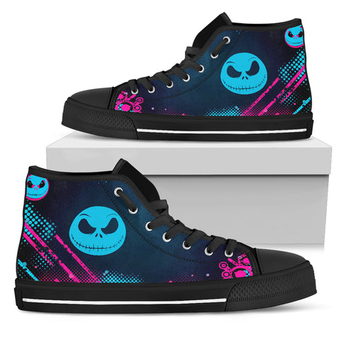Stylist & Colorful Jack Skellington Women's  High Top Canvas Shoes