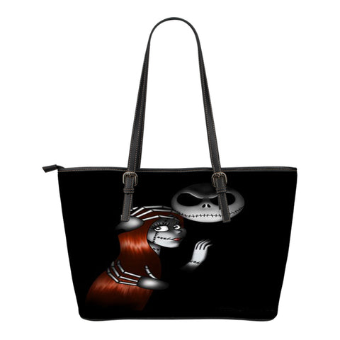 Jack Skellington Protects Sally Women's Leather Tote Bag in Black