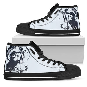Nightmare Before Christmas Shoes - Jack Skellington & Sally Silohoutte Women's High Top Canvas Sneakers in Black