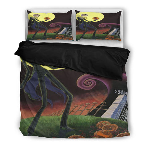 Jack Skellington on His Way to the Pumpkin Patch 3-Piece Bedding Set in Black