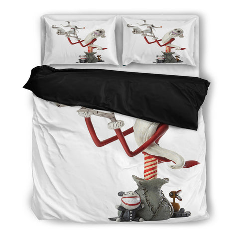 Queen Bed, King Bed, and Twin Bed - Nightmare Before Christmas Bedding Sets - Jack Skellington's Santa Claus this Christmas 3-Piece Bedding Set in White