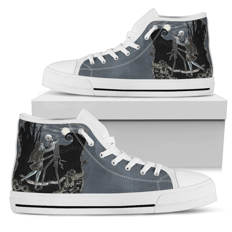 Jack Skellington Moonlight Romance Women's High Top Canvas Sneakers in Dark Gray