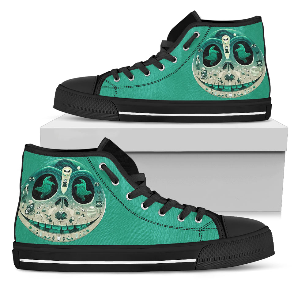 Jack Skellington's Christmas Skull Women's High Top Canvas Sneakers in Green