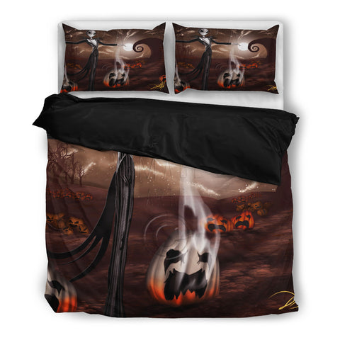 Jack Skellington Smokin Halloween 3-Piece Bedding Set in Black