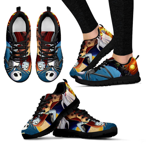 Nightmare Before Christmas Running Shoes - Jack Skellington & Sally Women's Lace Up Sneakers in Blue