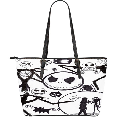 Jack Skellington Evil Face Women's Leather Tote Bag in Black & White