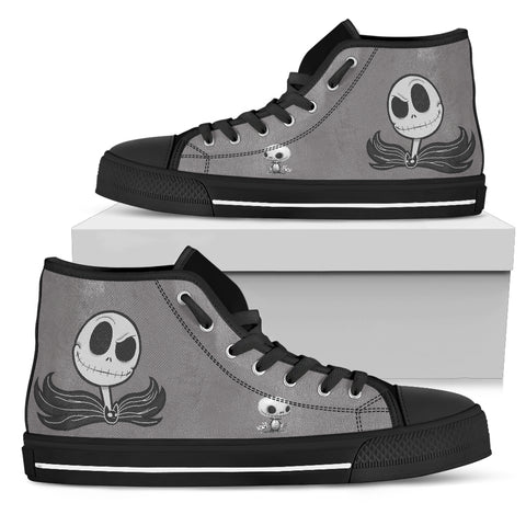 Having Fun with Kid!! Jack Skellington Women's High Top Shoes! Black