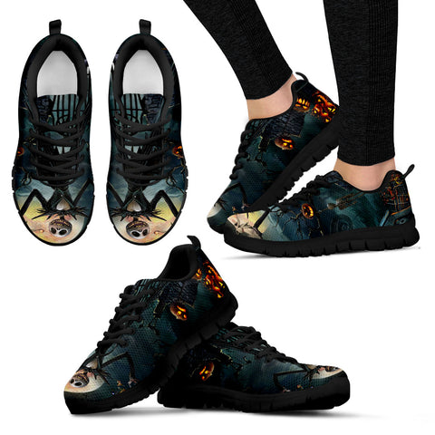 Nightmare Before Christmas Running Shoes - Jack Skellington The Pumpkin King Women's Lace Up Sneakers in Black