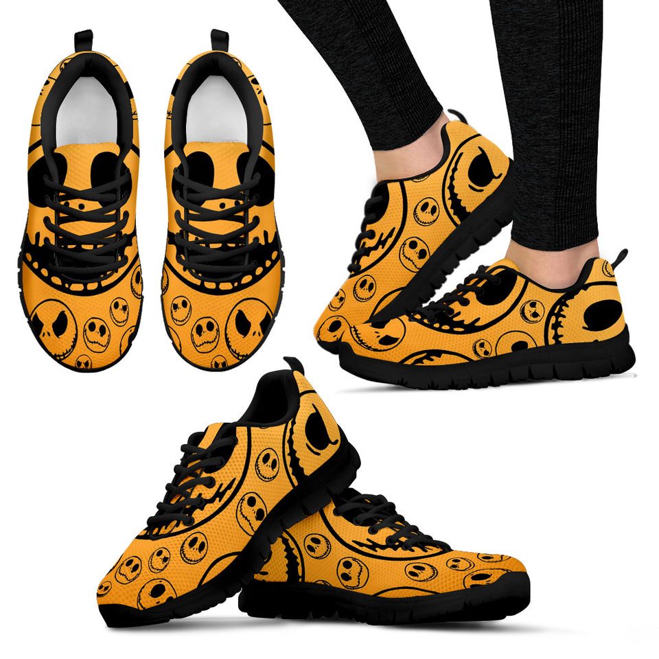 Jack Skellington Halloween Evil's Face Women's Lace Up Sneakers in Orange
