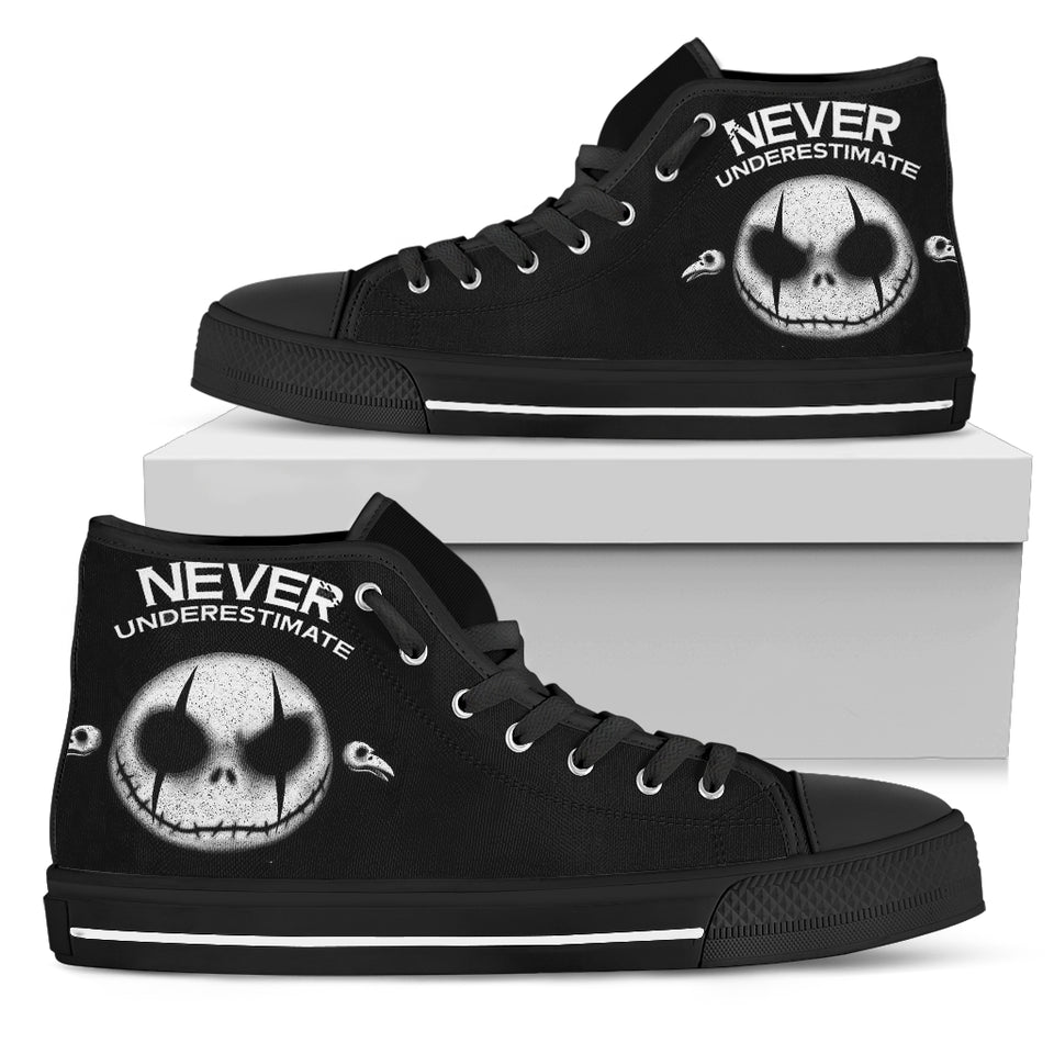 Jack Skellington Never Underestimate Women's High Top Canvas Sneakers in Black
