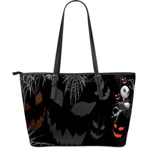 WOMEN'S LARGE LEATHER TOTE BAG FOR JACK SKELLINGTON LOVER !!