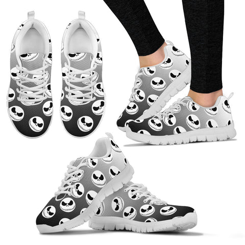 Nightmare Before Christmas Running Shoes - Jack Skellington Ombre Women's Lace Up Sneakers in Black & White
