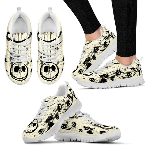 Nightmare Before Christmas Running Shoes - Jack Skellington Spooky Women's Lace Up Sneakers in White & Black