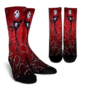 Jack Skellington  is Your Valentine Casual Crew Socks in Red