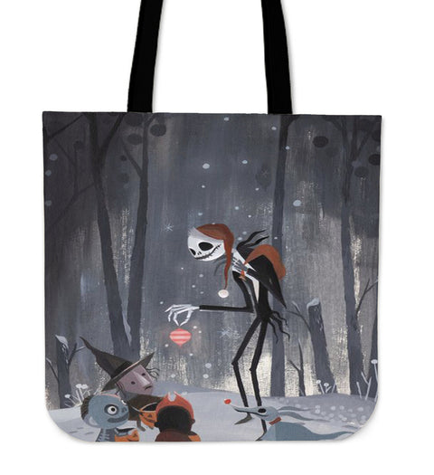 Jack Skellington Share Presents Women's Canvas Tote Bag in Dark Gray