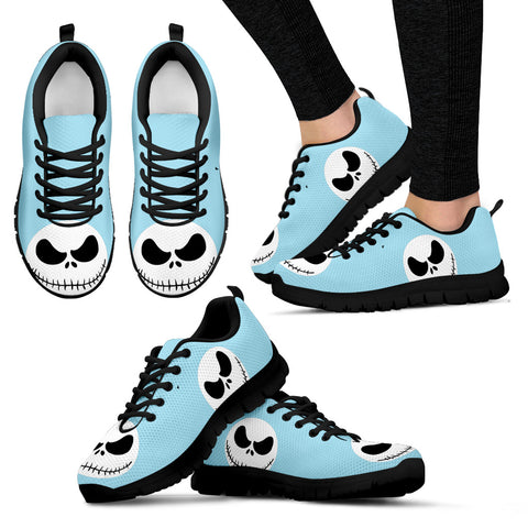 Nightmare Before Christmas Running Shoes - Jack Skellington Design Women's Lace Up Sneakers in Sky Blue