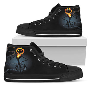 Nightmare Before Christmas Running Shoes - Jack Skellington Is On Fire Women's High Top Canvas Sneakers in Black