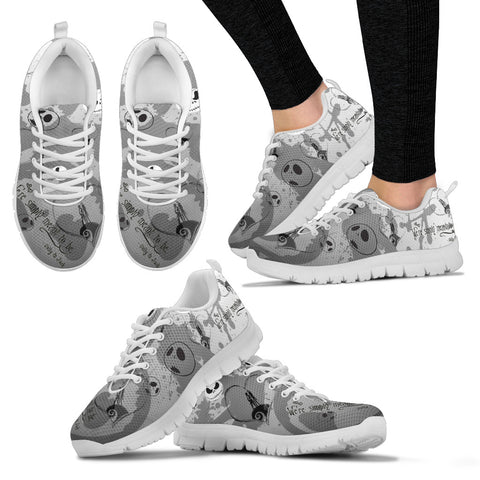 Jack Skellington & Sally Meant to Be Women's Lace Up Sneakers in Gray