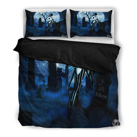 Queen Bed, King Bed, and Twin Bed - Nightmare Before Christmas Bedding Sets - Jack Skellington's Midnight Full Moon Adventure 3-Piece Bedding Set in Blue